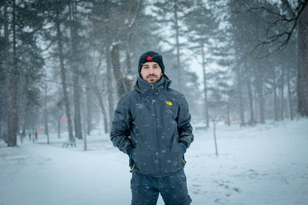 portrait photo in the snow