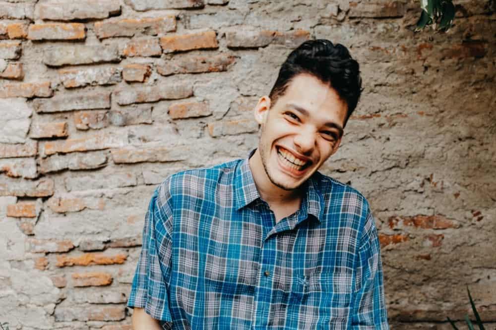 portrait photo laughing man